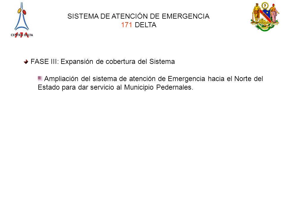 SISTEMA DE ATENCIÓN DE EMERGENCIA 171 DELTA FASE III: Expansión de cobertura del Sistema Ampliación del sistema de atención de Emergencia hacia el Nor