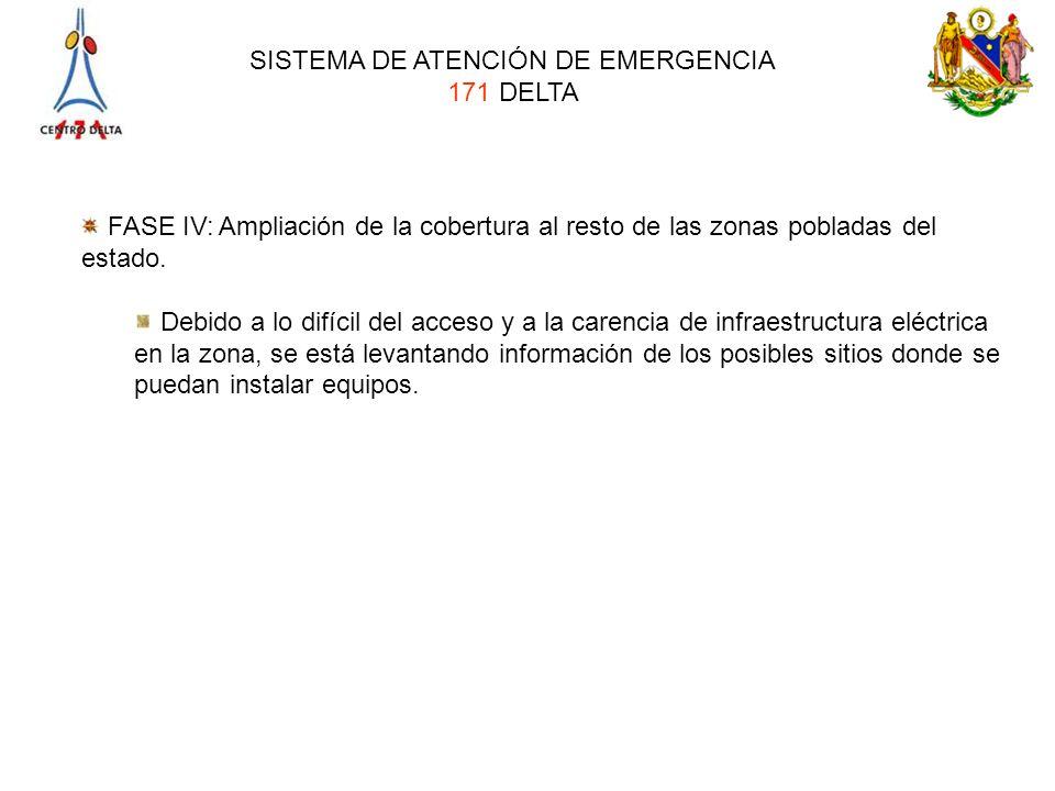 SISTEMA DE ATENCIÓN DE EMERGENCIA 171 DELTA FASE IV: Ampliación de la cobertura al resto de las zonas pobladas del estado. Debido a lo difícil del acc