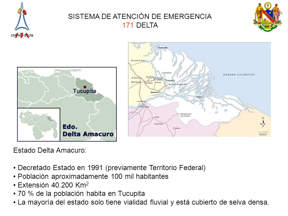 SISTEMA DE ATENCIÓN DE EMERGENCIA 171 DELTA Estado Delta Amacuro: Decretado Estado en 1991 (previamente Territorio Federal) Población aproximadamente