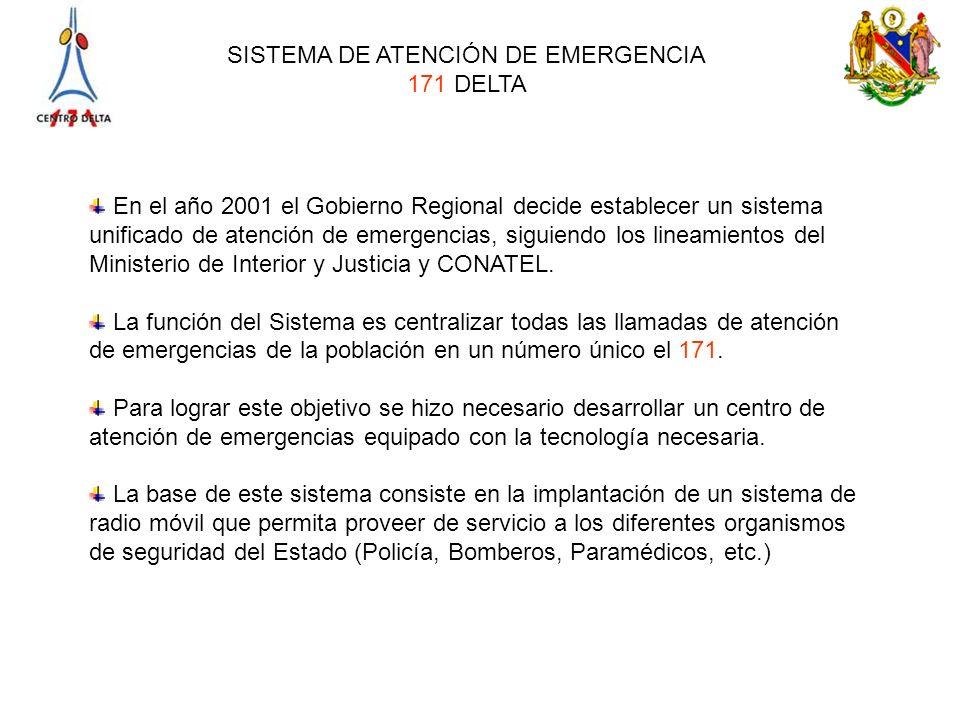 SISTEMA DE ATENCIÓN DE EMERGENCIA 171 DELTA En el año 2001 el Gobierno Regional decide establecer un sistema unificado de atención de emergencias, sig