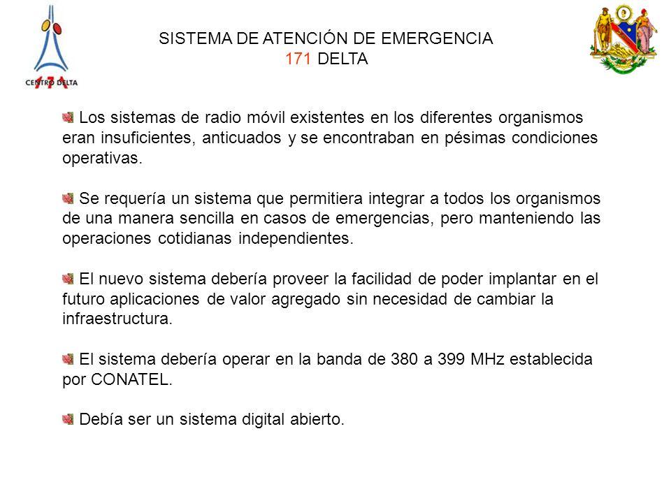 SISTEMA DE ATENCIÓN DE EMERGENCIA 171 DELTA Los sistemas de radio móvil existentes en los diferentes organismos eran insuficientes, anticuados y se en