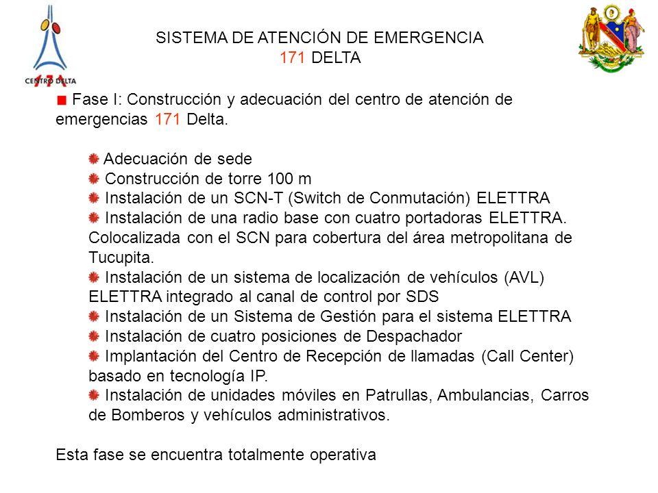 SISTEMA DE ATENCIÓN DE EMERGENCIA 171 DELTA Fase I: Construcción y adecuación del centro de atención de emergencias 171 Delta. Adecuación de sede Cons