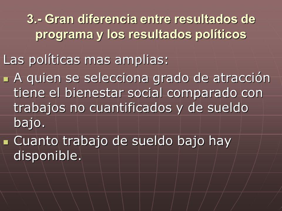 3.- Gran diferencia entre resultados de programa y los resultados políticos Las políticas mas amplias: A quien se selecciona grado de atracción tiene