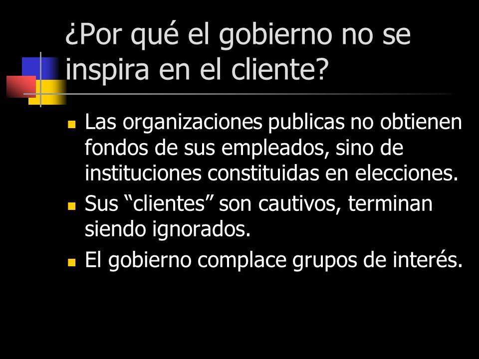 ¿Por qué el gobierno no se inspira en el cliente? Las organizaciones publicas no obtienen fondos de sus empleados, sino de instituciones constituidas