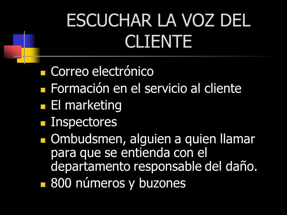 ESCUCHAR LA VOZ DEL CLIENTE Correo electrónico Formación en el servicio al cliente El marketing Inspectores Ombudsmen, alguien a quien llamar para que