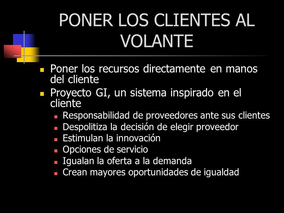 PONER LOS CLIENTES AL VOLANTE Poner los recursos directamente en manos del cliente Proyecto GI, un sistema inspirado en el cliente Responsabilidad de