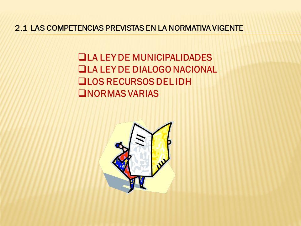 LA LEY DE MUNICIPALIDADES ARTÍCULO 5º establece a) LAS FINALIDADES DE LAS MUNICIPALIDAES Y EL GOBIERNO MUNICIPAL I.