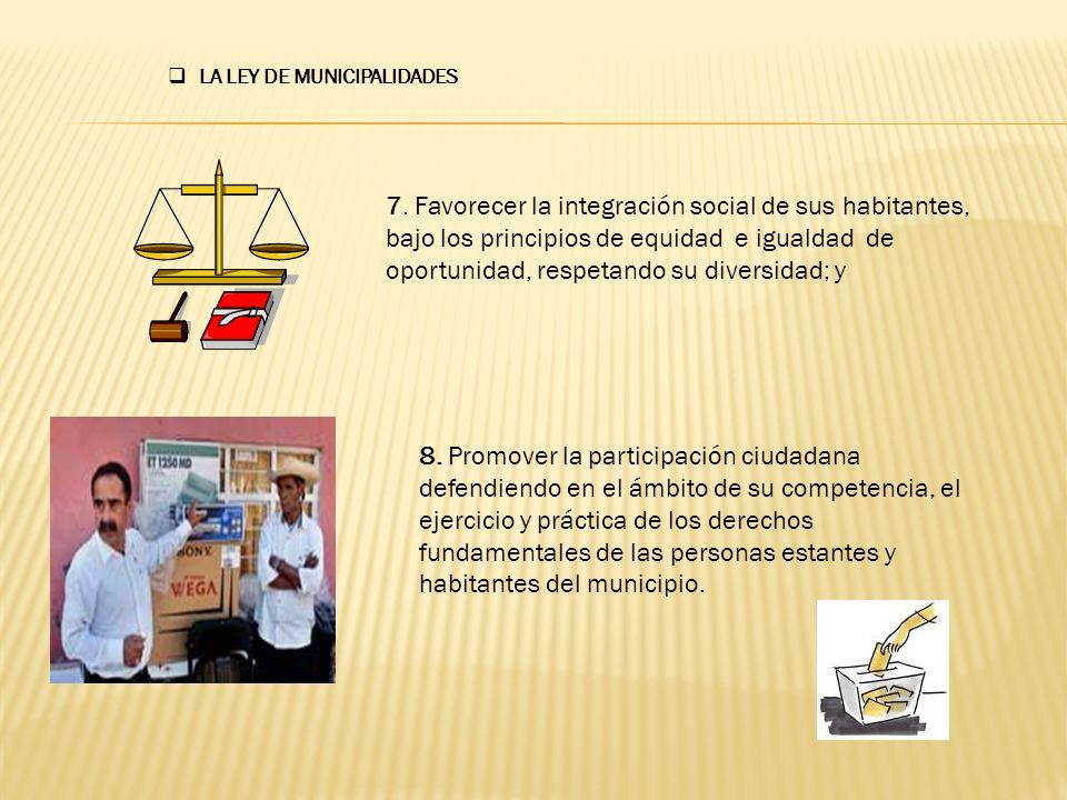 b) LAS COMPETENCIAS MUNICIPALIDAES I.DE DESARROLLO HUMANO SOSTENIBLE II.DE INFRAESTRUCTURA III.DE ADMINISTRACION Y FINANZAS IV.DE DEFENSA DEL CONSUMIDOR V.SERVICIOS; Y VI.OTROS LA LEY DE MUNICIPALIDADES