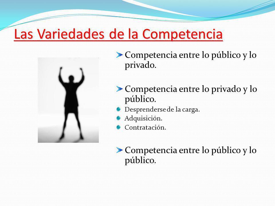Las Variedades de la Competencia Competencia entre lo público y lo privado.