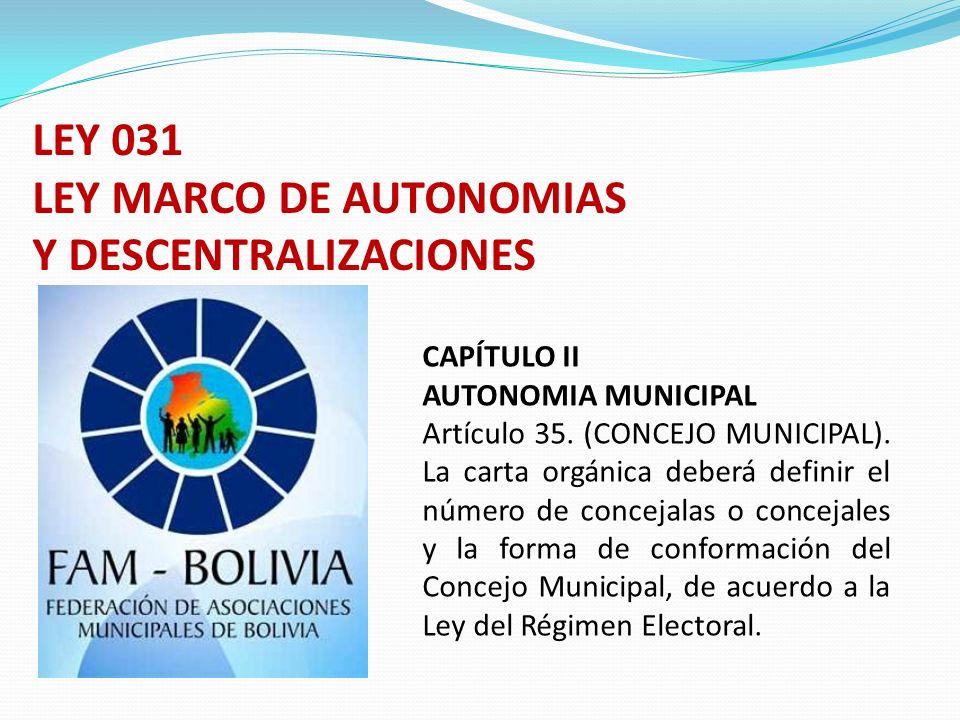 CAPÍTULO II AUTONOMIA MUNICIPAL Artículo 35. (CONCEJO MUNICIPAL). La carta orgánica deberá definir el número de concejalas o concejales y la forma de