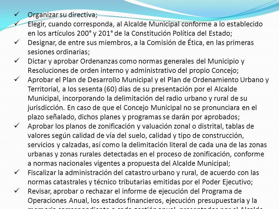 Organizar su directiva; Elegir, cuando corresponda, al Alcalde Municipal conforme a lo establecido en los artículos 200° y 201° de la Constitución Pol
