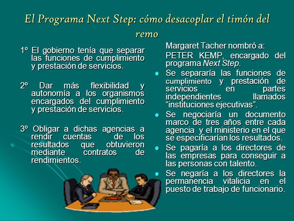 El Programa Next Step: cómo desacoplar el timón del remo 1º El gobierno tenía que separar las funciones de cumplimiento y prestación de servicios.