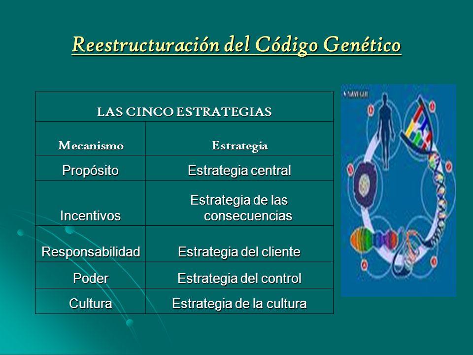 Reestructuración del Código Genético LAS CINCO ESTRATEGIAS MecanismoEstrategia Propósito Estrategia central Incentivos Estrategia de las consecuencias Responsabilidad Estrategia del cliente Poder Estrategia del control Cultura Estrategia de la cultura