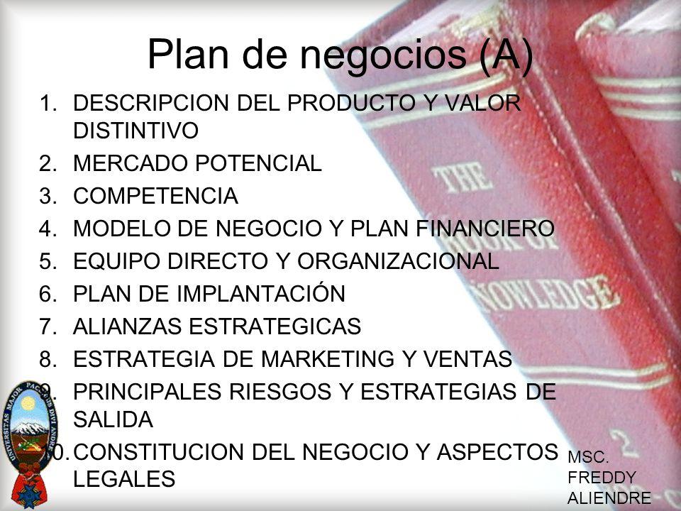 MSC. FREDDY ALIENDRE Plan de negocios (A) 1.DESCRIPCION DEL PRODUCTO Y VALOR DISTINTIVO 2.MERCADO POTENCIAL 3.COMPETENCIA 4.MODELO DE NEGOCIO Y PLAN F