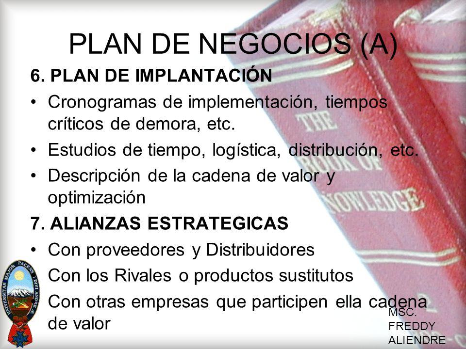 MSC. FREDDY ALIENDRE PLAN DE NEGOCIOS (A) 6. PLAN DE IMPLANTACIÓN Cronogramas de implementación, tiempos críticos de demora, etc. Estudios de tiempo,