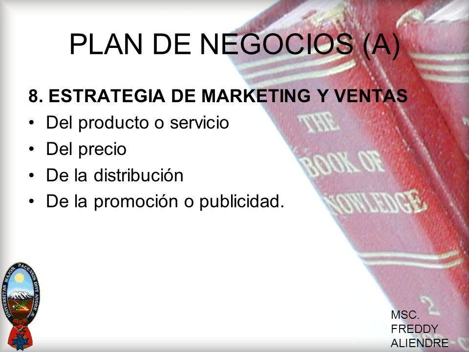 MSC. FREDDY ALIENDRE PLAN DE NEGOCIOS (A) 8. ESTRATEGIA DE MARKETING Y VENTAS Del producto o servicio Del precio De la distribución De la promoción o