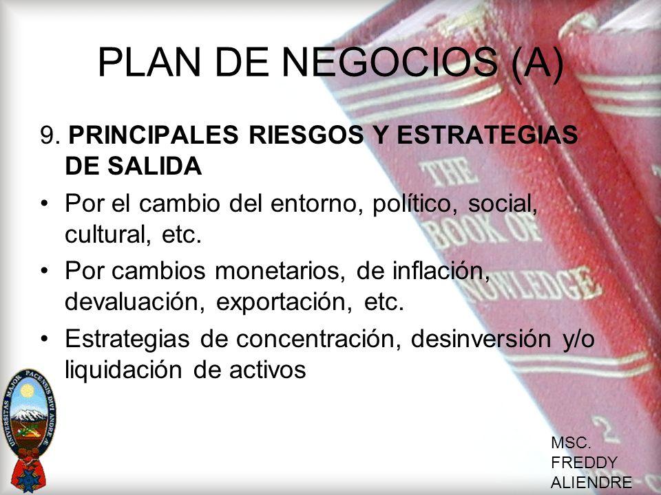 MSC. FREDDY ALIENDRE PLAN DE NEGOCIOS (A) 9. PRINCIPALES RIESGOS Y ESTRATEGIAS DE SALIDA Por el cambio del entorno, político, social, cultural, etc. P