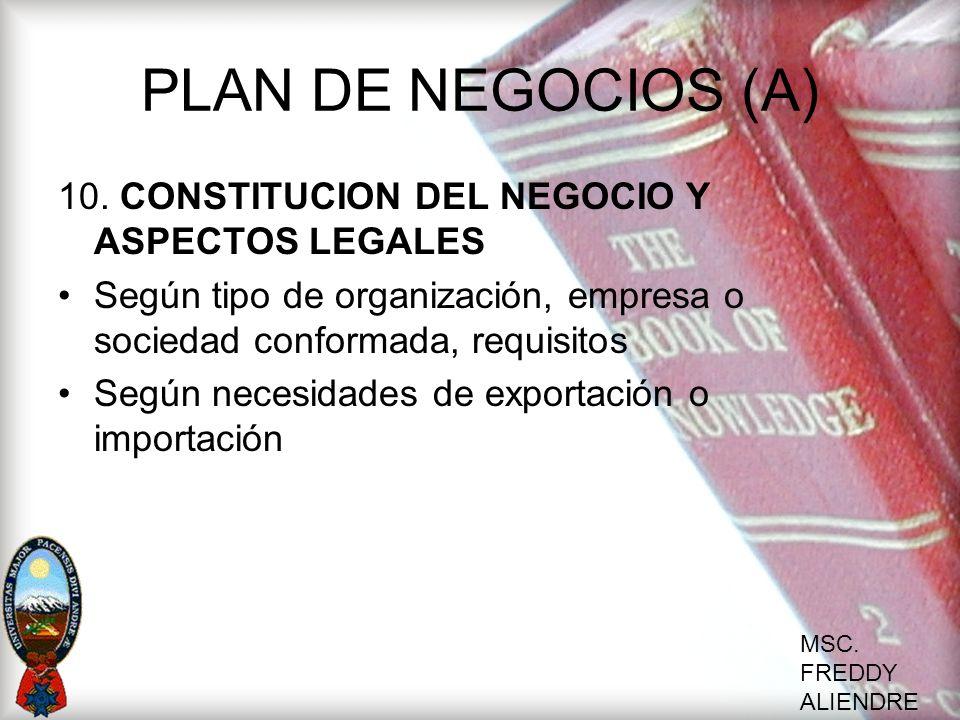 MSC. FREDDY ALIENDRE PLAN DE NEGOCIOS (A) 10. CONSTITUCION DEL NEGOCIO Y ASPECTOS LEGALES Según tipo de organización, empresa o sociedad conformada, r