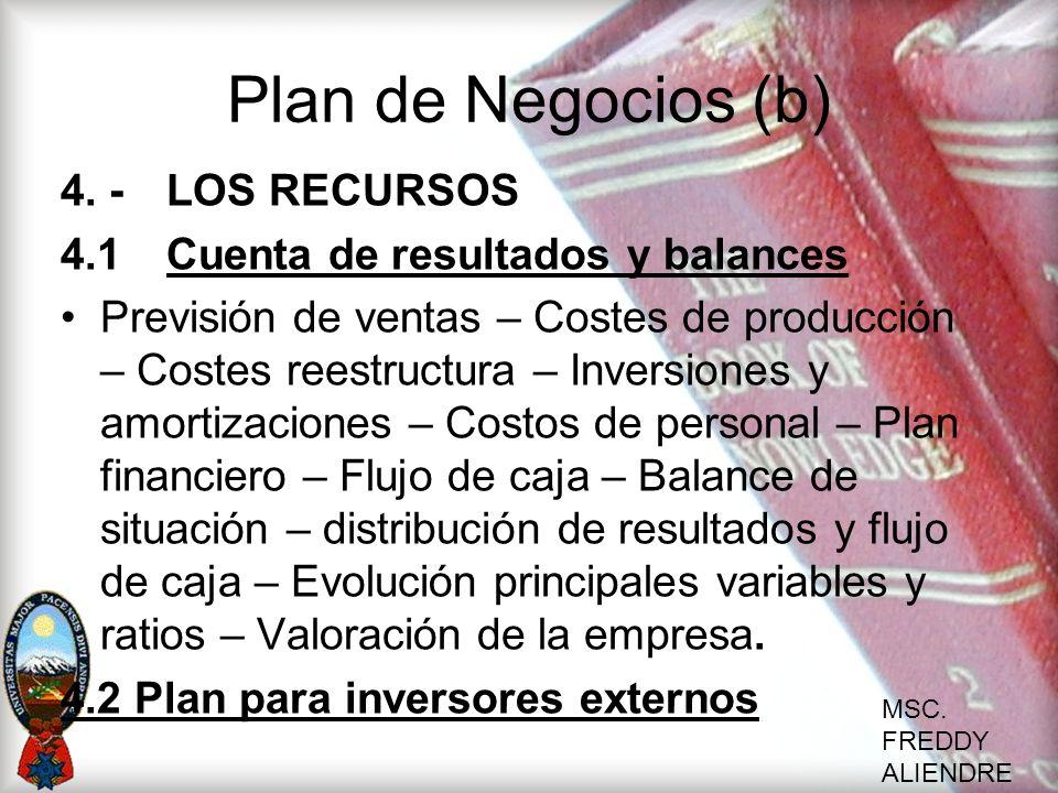 MSC. FREDDY ALIENDRE Plan de Negocios (b) 4. -LOS RECURSOS 4.1Cuenta de resultados y balances Previsión de ventas – Costes de producción – Costes rees