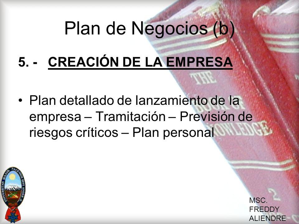 MSC. FREDDY ALIENDRE Plan de Negocios (b) 5. -CREACIÓN DE LA EMPRESA Plan detallado de lanzamiento de la empresa – Tramitación – Previsión de riesgos