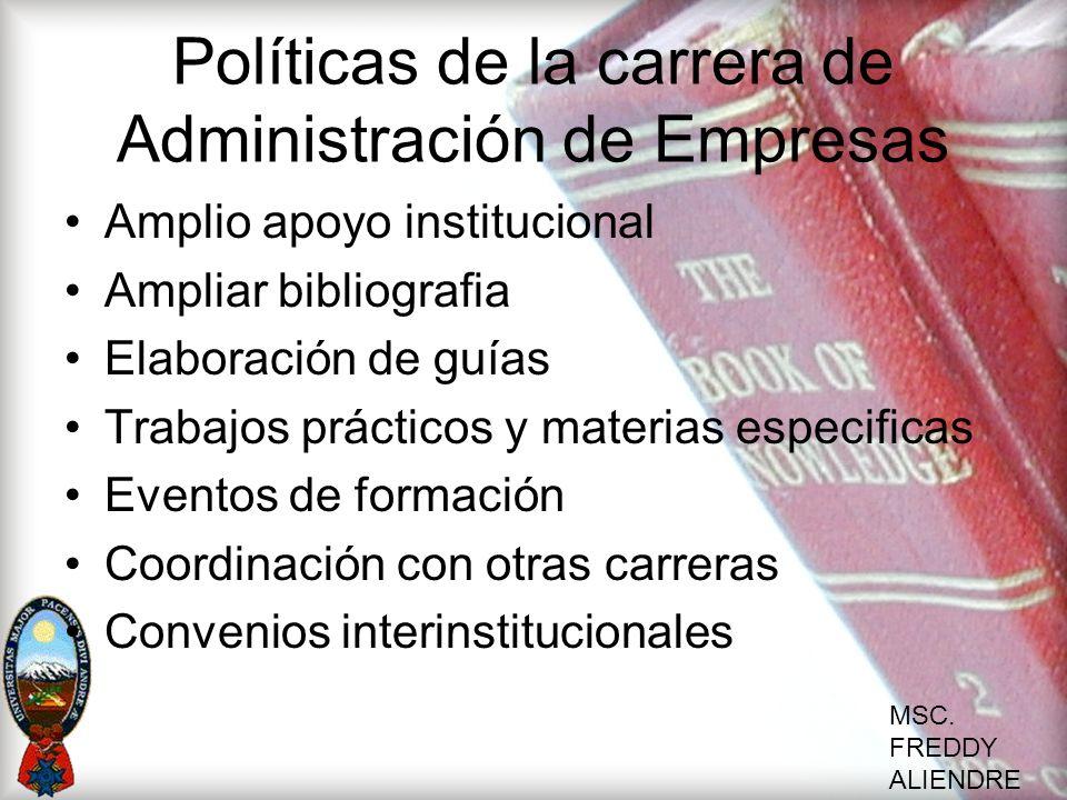 MSC. FREDDY ALIENDRE Políticas de la carrera de Administración de Empresas Amplio apoyo institucional Ampliar bibliografia Elaboración de guías Trabaj