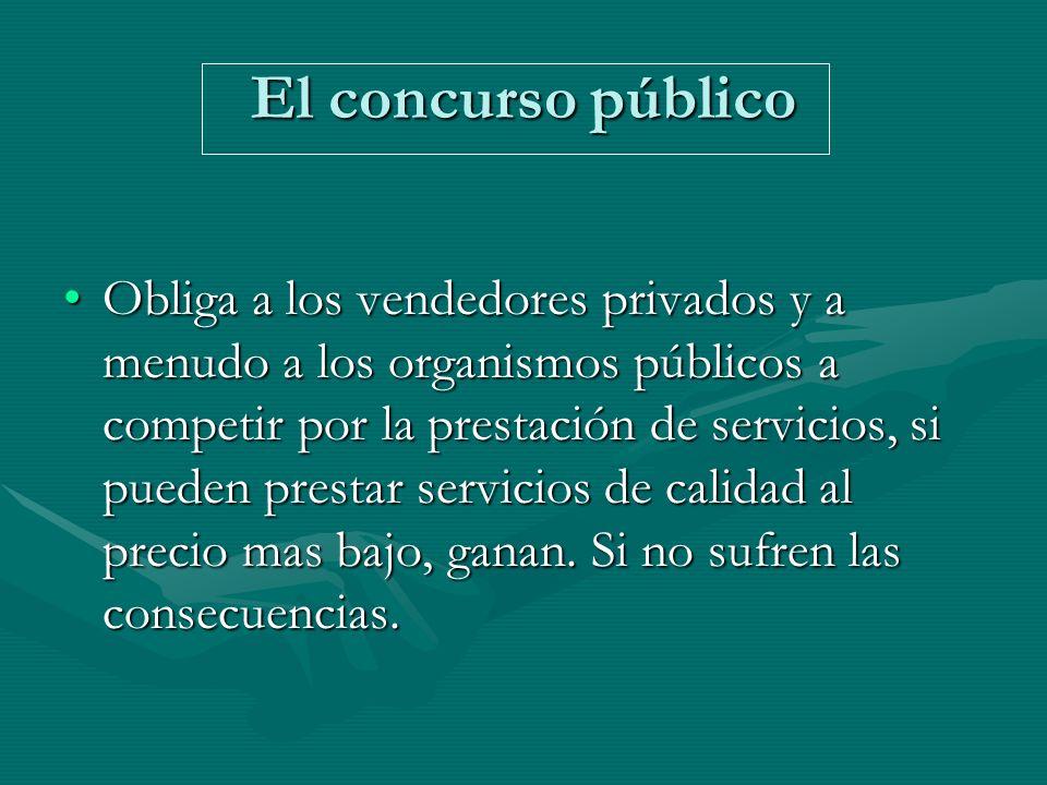 El concurso público Obliga a los vendedores privados y a menudo a los organismos públicos a competir por la prestación de servicios, si pueden prestar servicios de calidad al precio mas bajo, ganan.