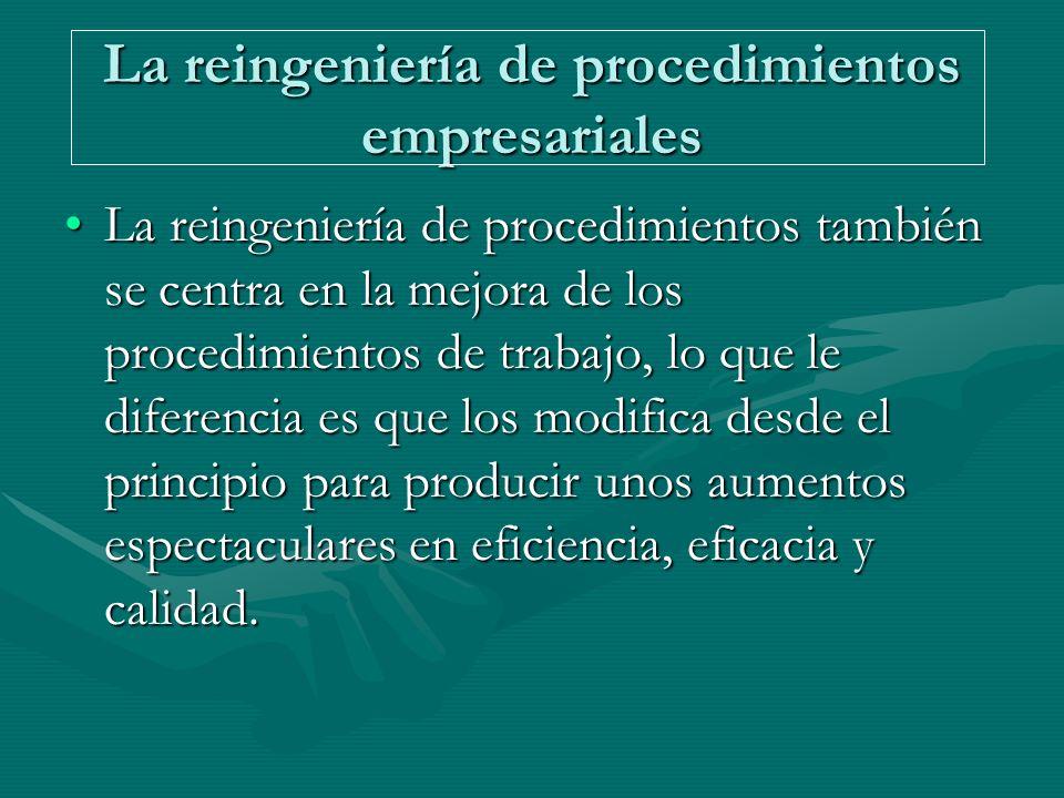 La reingeniería de procedimientos empresariales La reingeniería de procedimientos también se centra en la mejora de los procedimientos de trabajo, lo que le diferencia es que los modifica desde el principio para producir unos aumentos espectaculares en eficiencia, eficacia y calidad.La reingeniería de procedimientos también se centra en la mejora de los procedimientos de trabajo, lo que le diferencia es que los modifica desde el principio para producir unos aumentos espectaculares en eficiencia, eficacia y calidad.