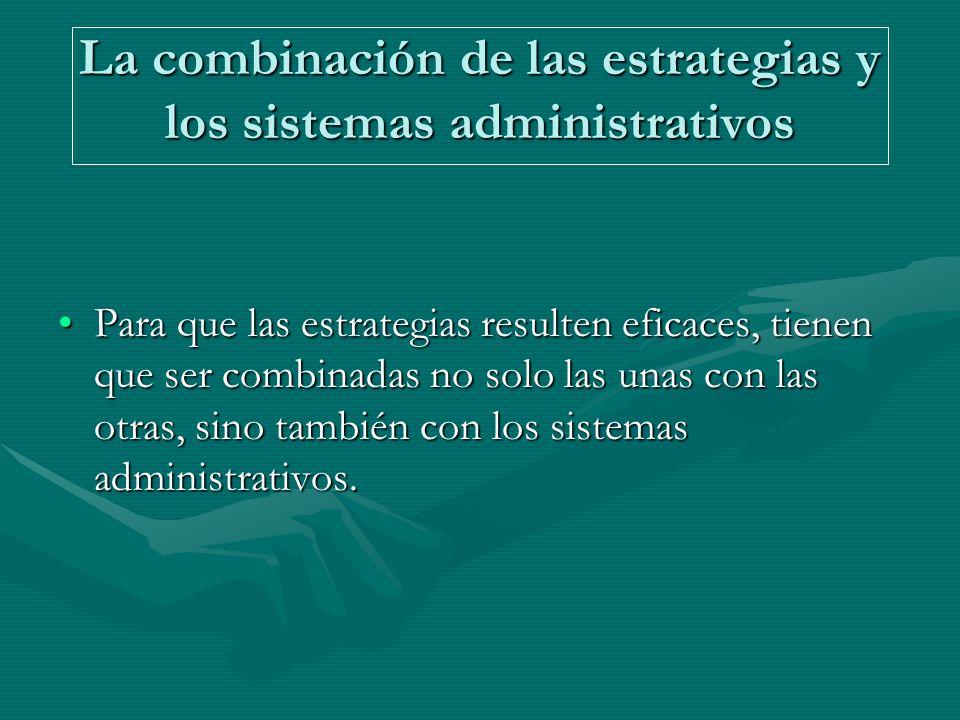La combinación de las estrategias y los sistemas administrativos Para que las estrategias resulten eficaces, tienen que ser combinadas no solo las unas con las otras, sino también con los sistemas administrativos.Para que las estrategias resulten eficaces, tienen que ser combinadas no solo las unas con las otras, sino también con los sistemas administrativos.