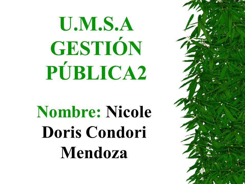 U.M.S.A GESTIÓN PÚBLICA2 Nombre: Nicole Doris Condori Mendoza