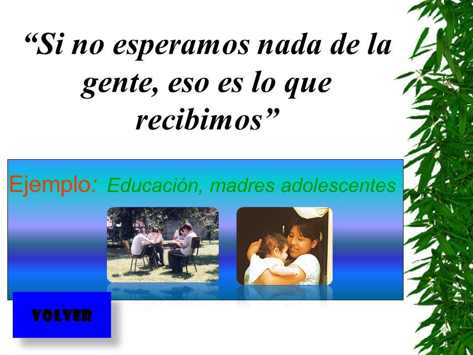 Si no esperamos nada de la gente, eso es lo que recibimos Ejemplo: Educación, madres adolescentes VOLVER