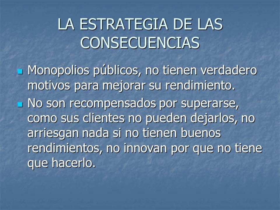 LA ESTRATEGIA DE LAS CONSECUENCIAS Monopolios públicos, no tienen verdadero motivos para mejorar su rendimiento.