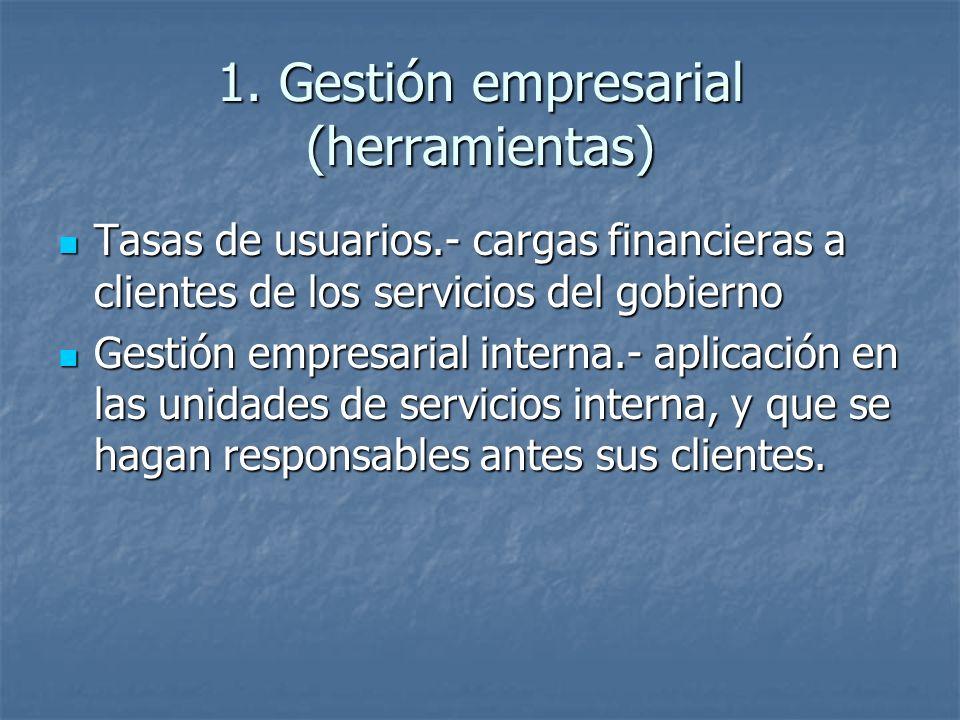 1. Gestión empresarial (herramientas) Tasas de usuarios.- cargas financieras a clientes de los servicios del gobierno Tasas de usuarios.- cargas finan