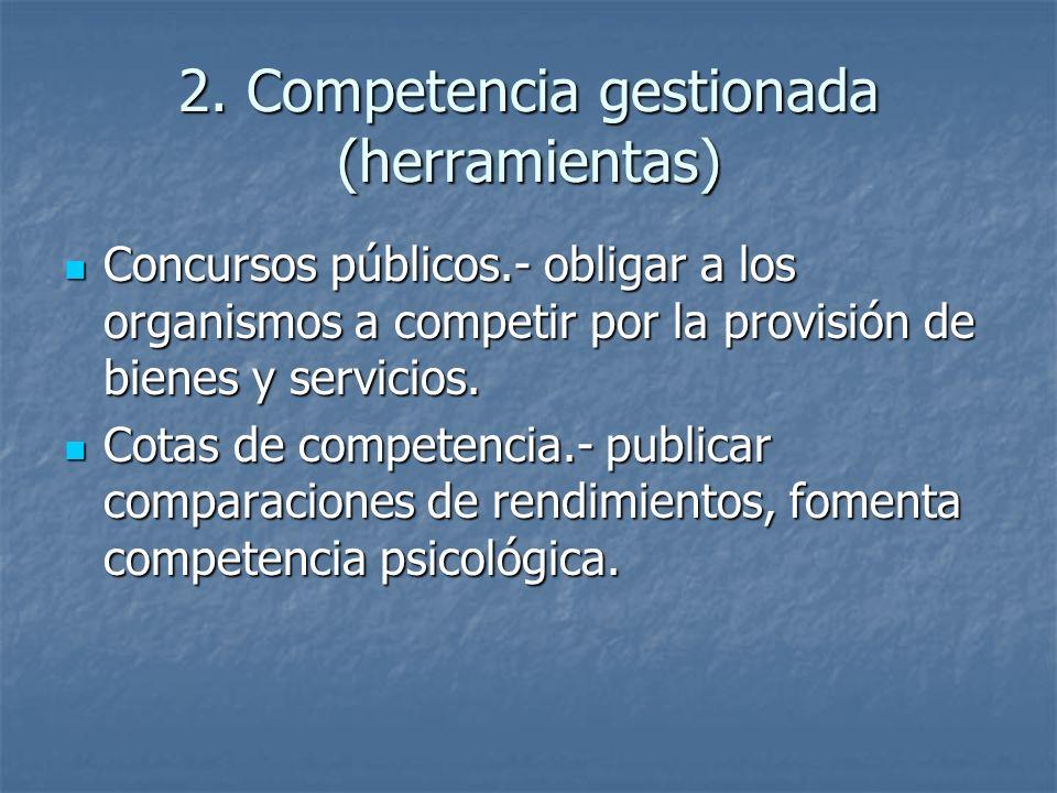 2. Competencia gestionada (herramientas) Concursos públicos.- obligar a los organismos a competir por la provisión de bienes y servicios. Concursos pú