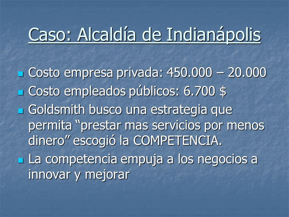 Caso: Alcaldía de Indianápolis Costo empresa privada: 450.000 – 20.000 Costo empresa privada: 450.000 – 20.000 Costo empleados públicos: 6.700 $ Costo
