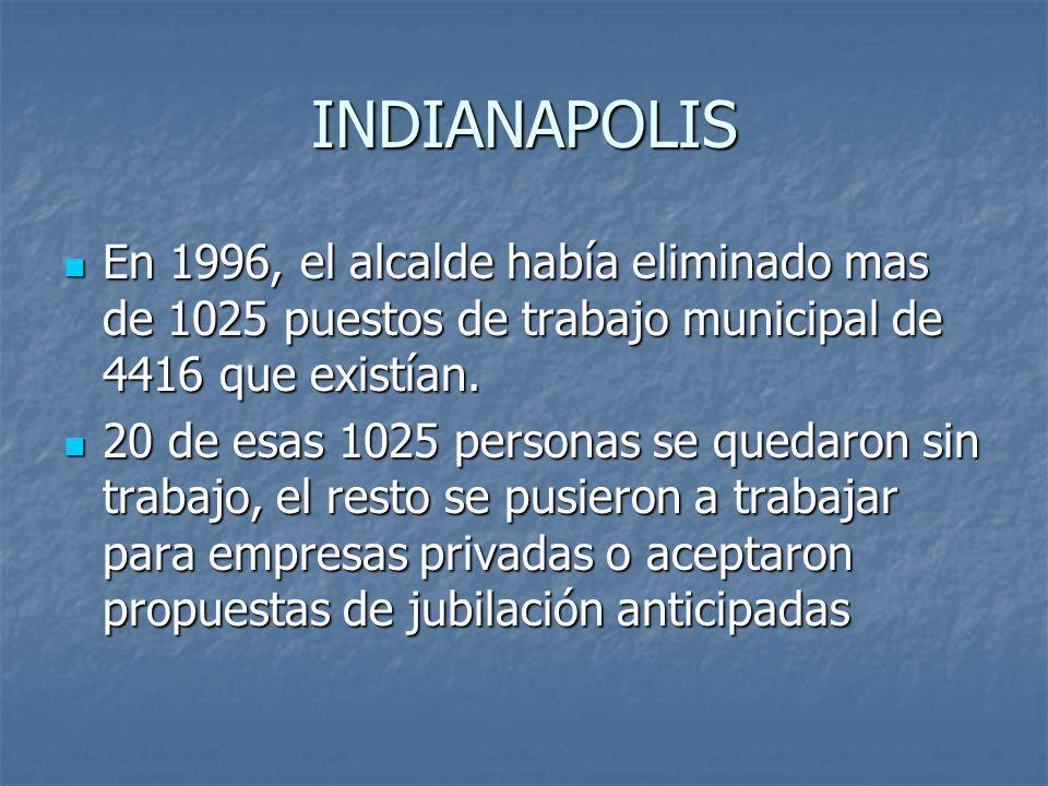 INDIANAPOLIS En 1996, el alcalde había eliminado mas de 1025 puestos de trabajo municipal de 4416 que existían.