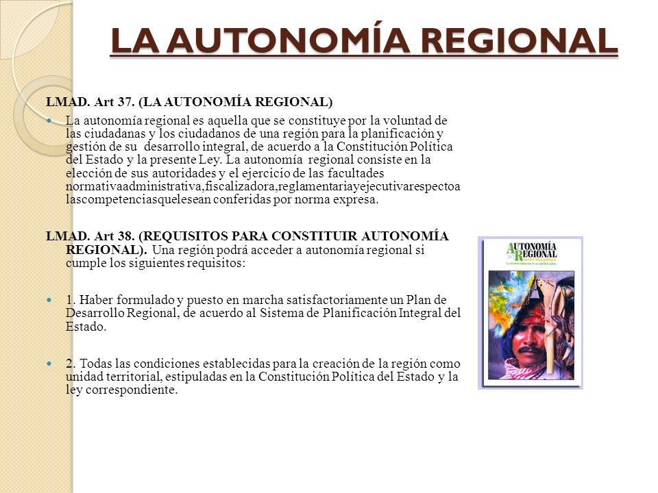 CPE.Cap. IIIAUTONOMÍA REGIONAL Art 280. I.