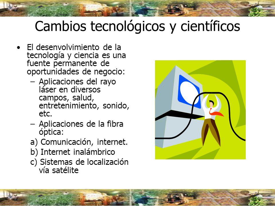 Cambios tecnológicos y científicos El desenvolvimiento de la tecnología y ciencia es una fuente permanente de oportunidades de negocio: –Aplicaciones