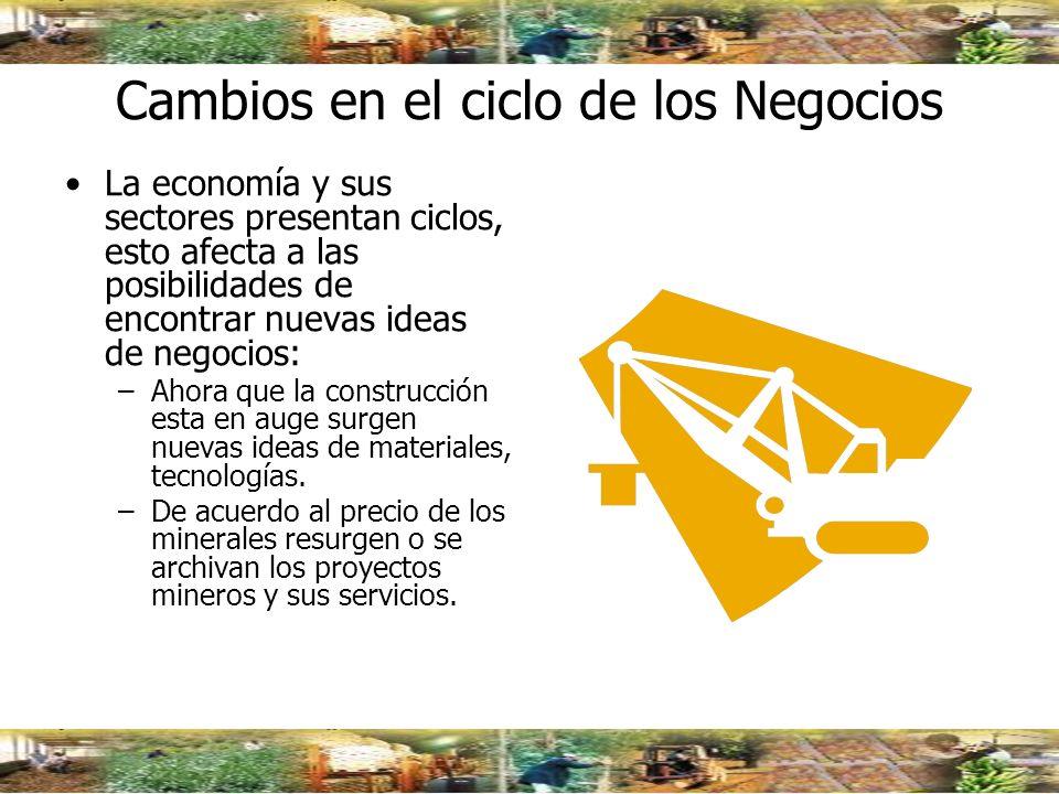 Cambios en el ciclo de los Negocios La economía y sus sectores presentan ciclos, esto afecta a las posibilidades de encontrar nuevas ideas de negocios