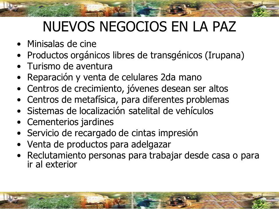 NUEVOS NEGOCIOS EN LA PAZ Minisalas de cine Productos orgánicos libres de transgénicos (Irupana) Turismo de aventura Reparación y venta de celulares 2