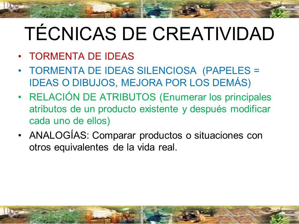 TÉCNICAS DE CREATIVIDAD TORMENTA DE IDEAS TORMENTA DE IDEAS SILENCIOSA (PAPELES = IDEAS O DIBUJOS, MEJORA POR LOS DEMÁS) RELACIÓN DE ATRIBUTOS (Enumer