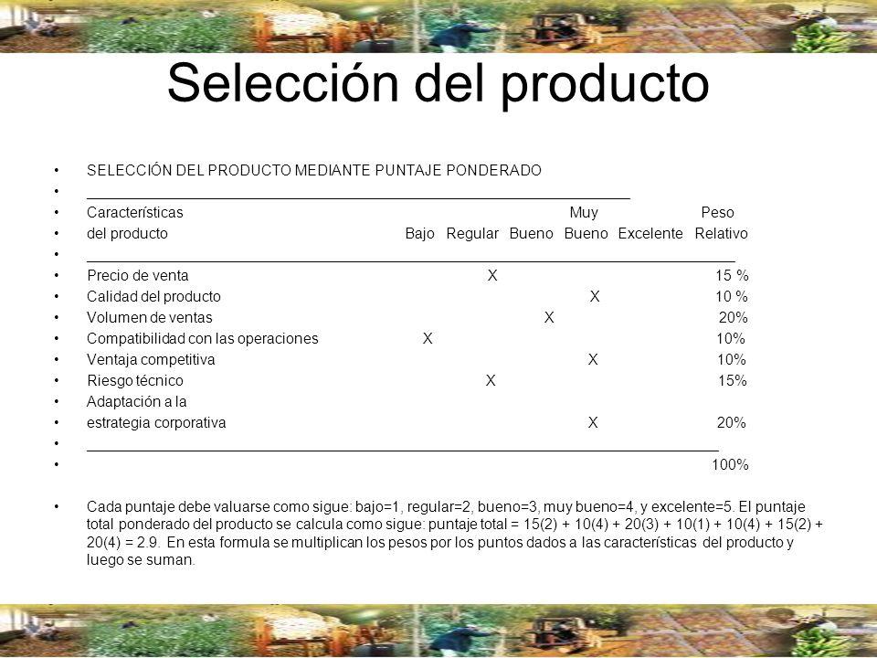 Selección del producto SELECCIÓN DEL PRODUCTO MEDIANTE PUNTAJE PONDERADO ___________________________________________________________________ Caracterí