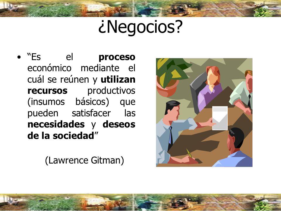 ¿Negocios? Es el proceso económico mediante el cuál se reúnen y utilizan recursos productivos (insumos básicos) que pueden satisfacer las necesidades