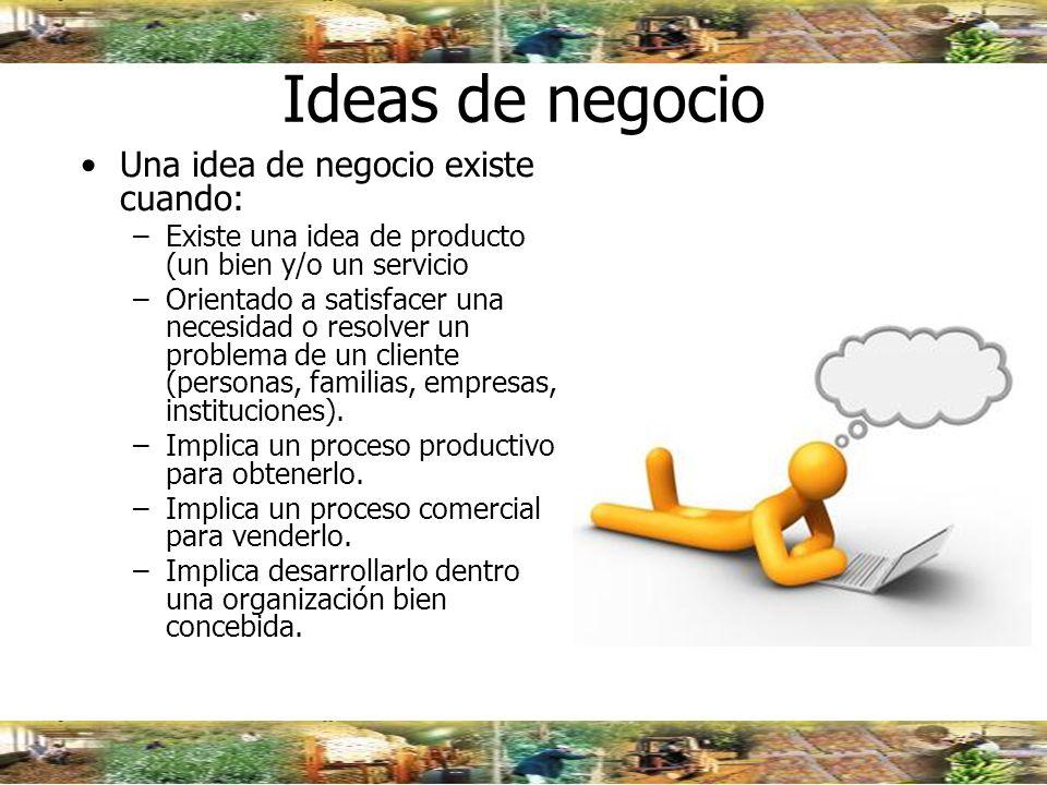 Origen de las Ideas de Negocio EL MERCADO Los problemas Las necesidades Los deseos LA TECNOLOGÍA.
