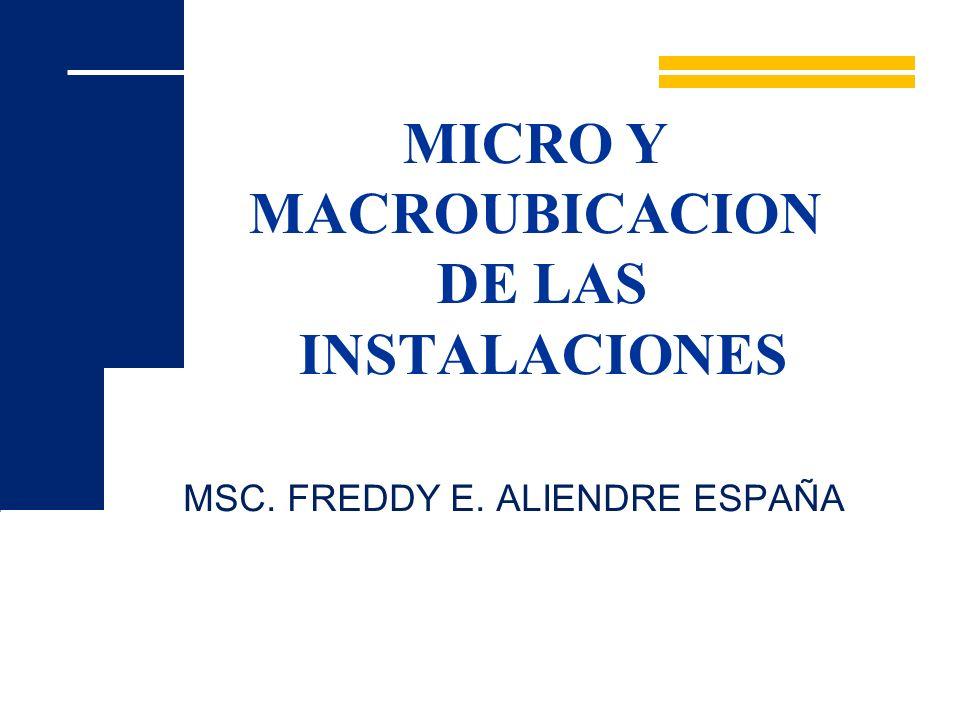 MICRO Y MACROUBICACION DE LAS INSTALACIONES MSC. FREDDY E. ALIENDRE ESPAÑA
