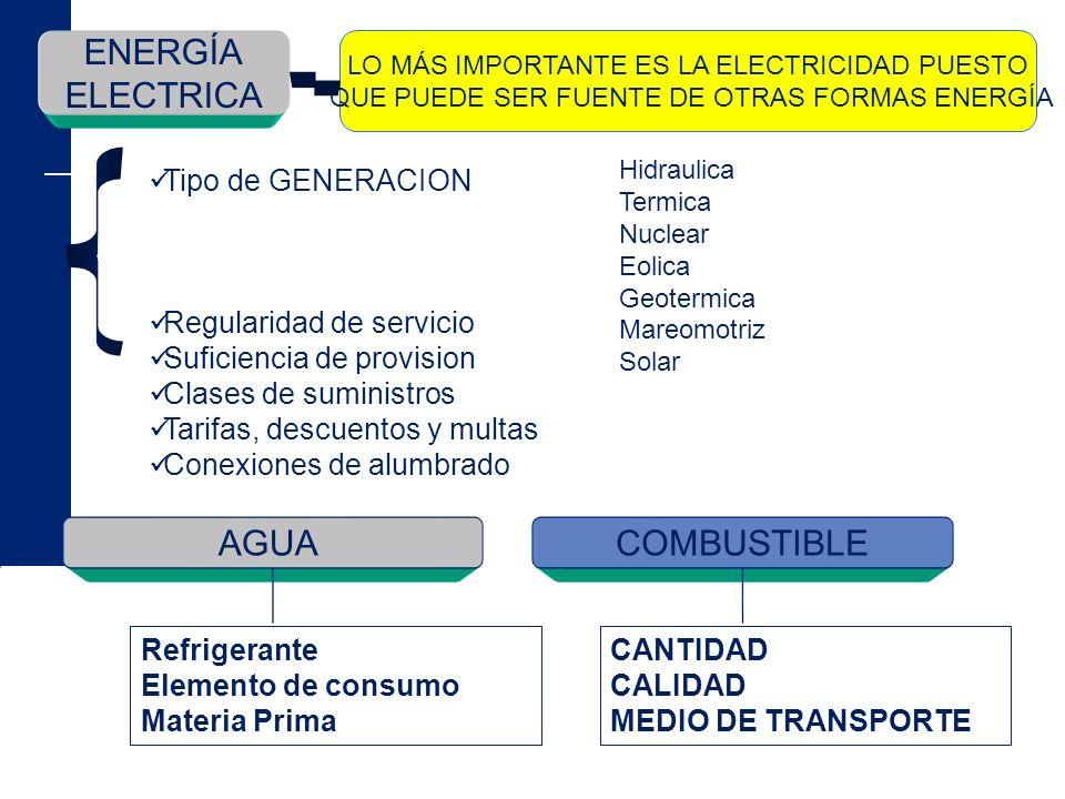ENERGÍA ELECTRICA LO MÁS IMPORTANTE ES LA ELECTRICIDAD PUESTO QUE PUEDE SER FUENTE DE OTRAS FORMAS ENERGÍA Tipo de GENERACION Regularidad de servicio