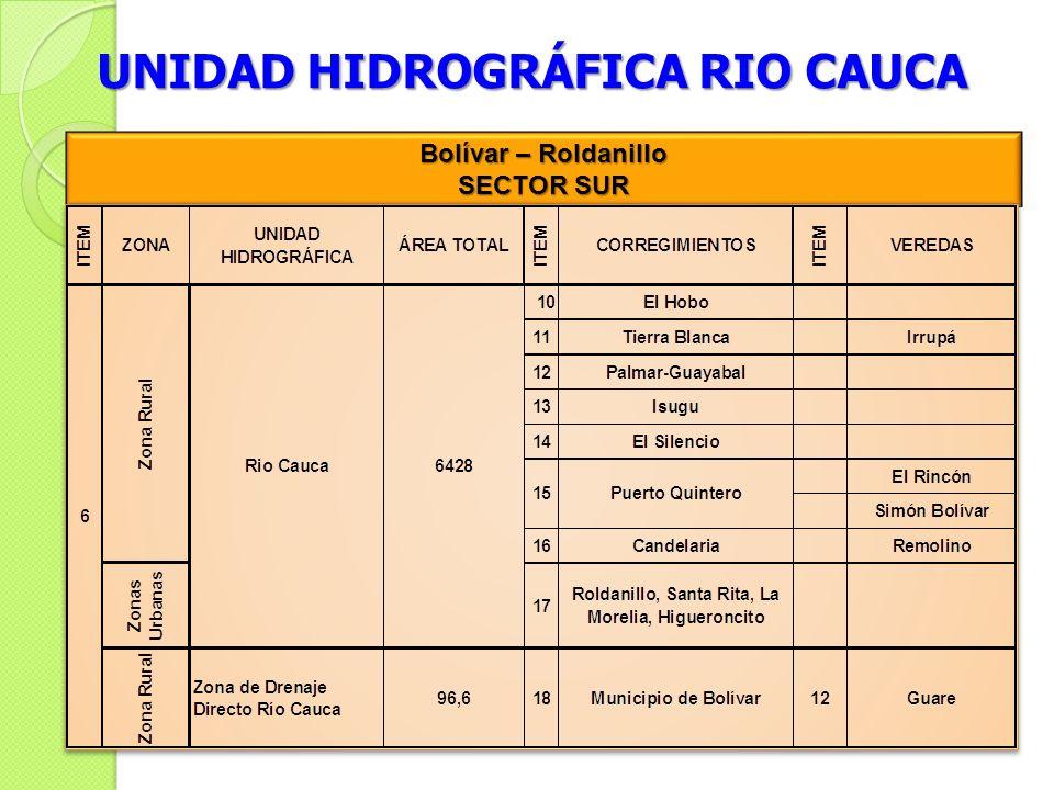 UNIDAD HIDROGRÁFICA RIO CAUCA Bolívar – Roldanillo SECTOR SUR