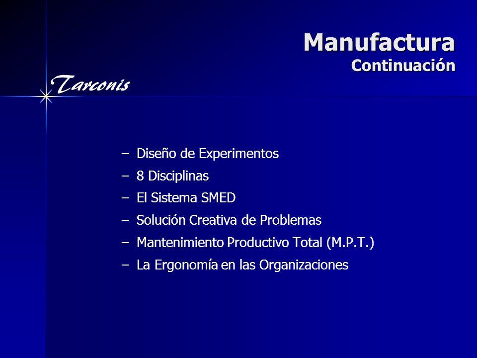 Tarconis Manufactura Continuación – –Diseño de Experimentos – –8 Disciplinas – –El Sistema SMED – –Solución Creativa de Problemas – –Mantenimiento Productivo Total (M.P.T.) – –La Ergonomía en las Organizaciones