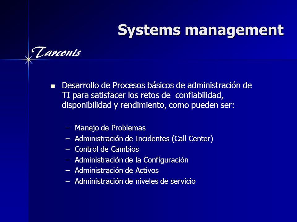 Tarconis Systems management Desarrollo de Procesos básicos de administración de TI para satisfacer los retos de confiabilidad, disponibilidad y rendim