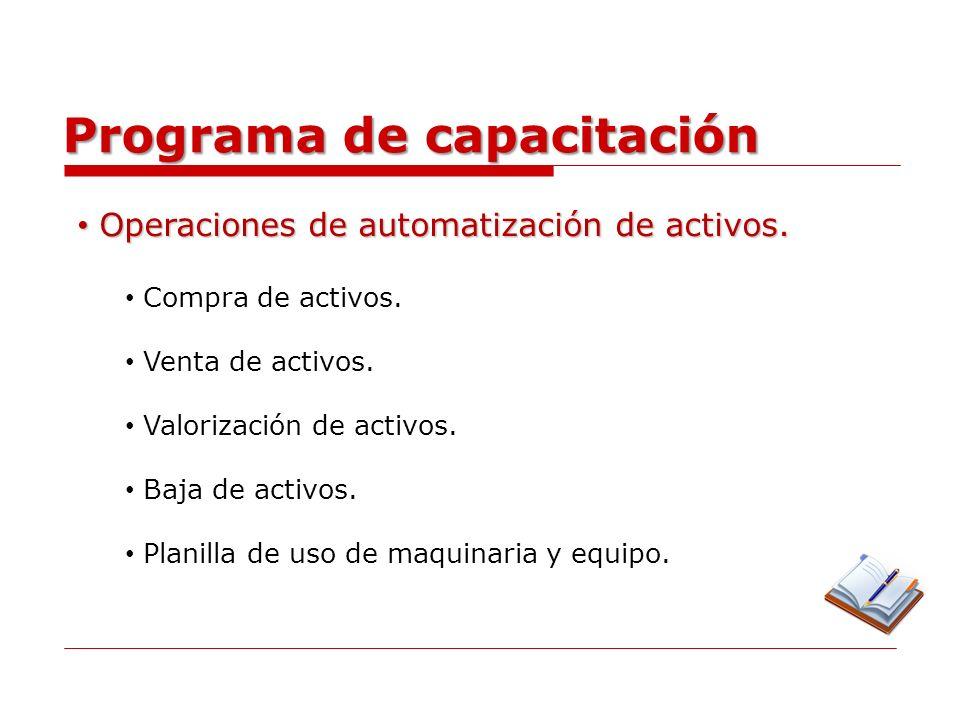 Programa de capacitación Configuraciones especiales.