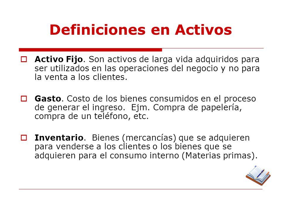 Definiciones en Activos Depreciación.